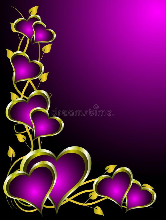 Roxo e fundo dos Valentim dos corações do ouro ilustração do vetor