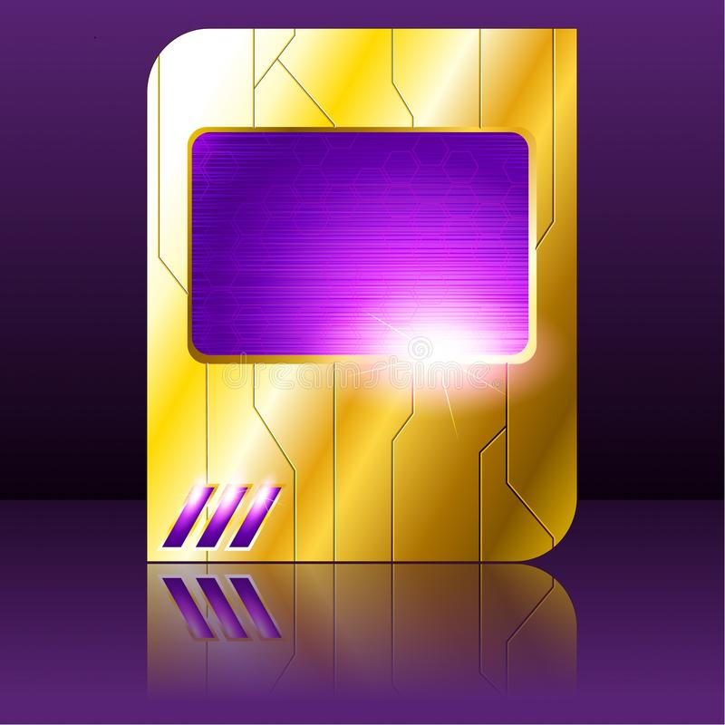 Roxo e sinal futurista do ouro ilustração royalty free