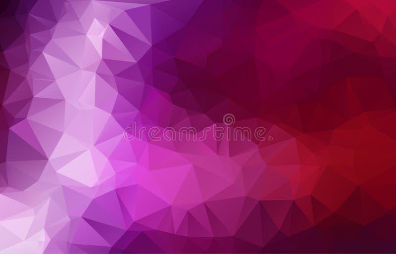 Roxo multicolorido abstrato, ilustração poligonal cor-de-rosa, que consistem em triângulos Fundo geométrico no estilo do origâmi  ilustração do vetor