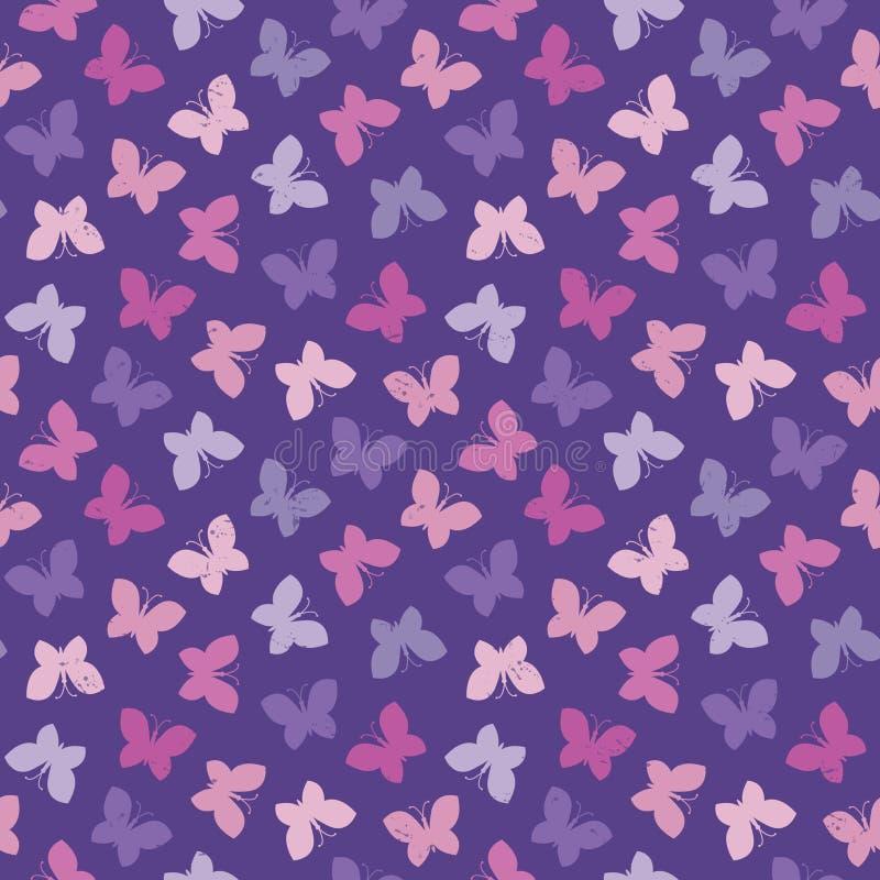 Roxo sem emenda do rosa das borboletas do fundo do moderno ilustração royalty free