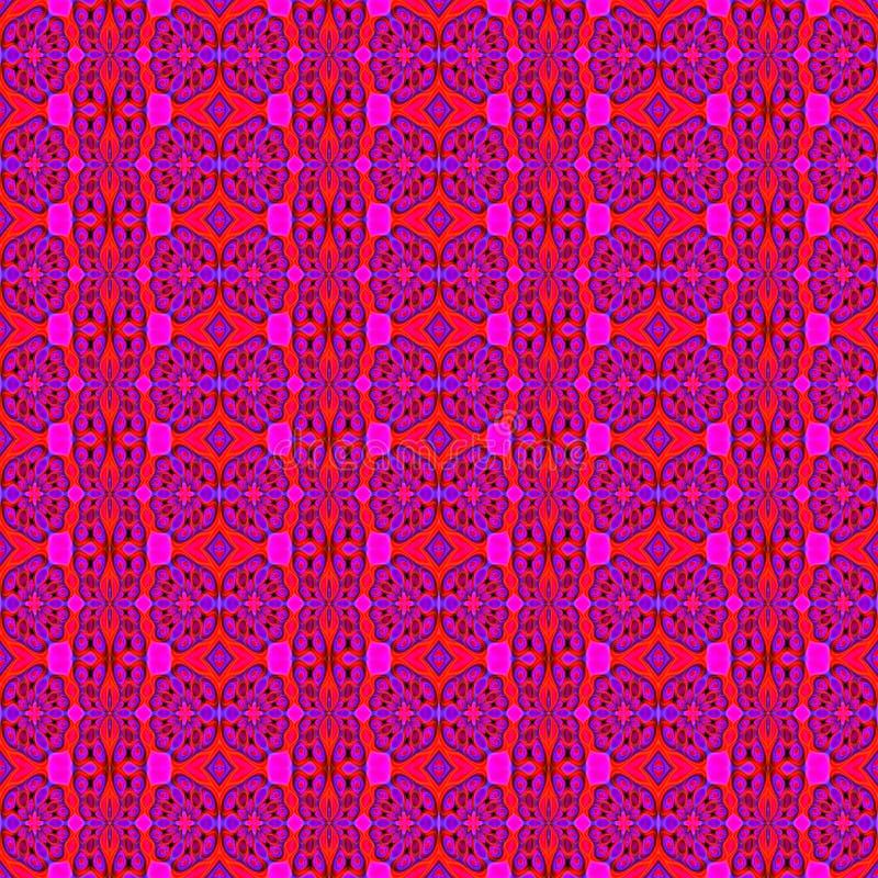 Roxo vermelho do teste padrão floral regular sem emenda ilustração do vetor