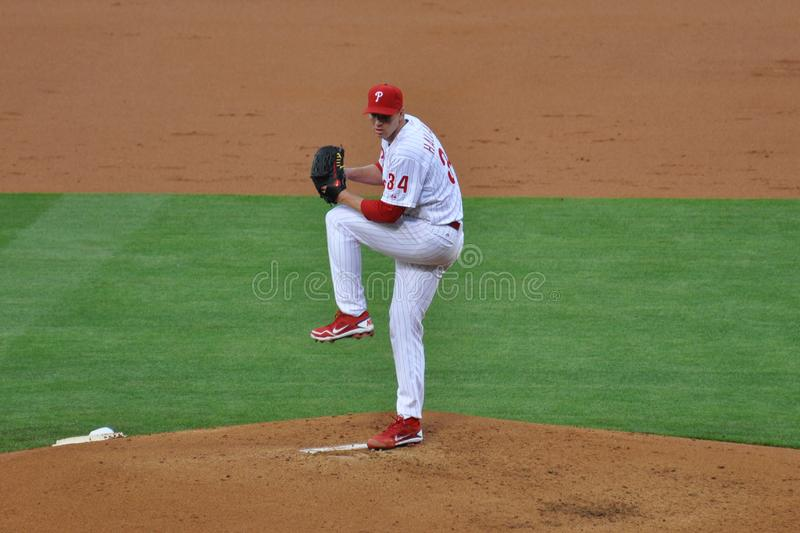 Roy Halladay Pitching For Phillies stock fotografie