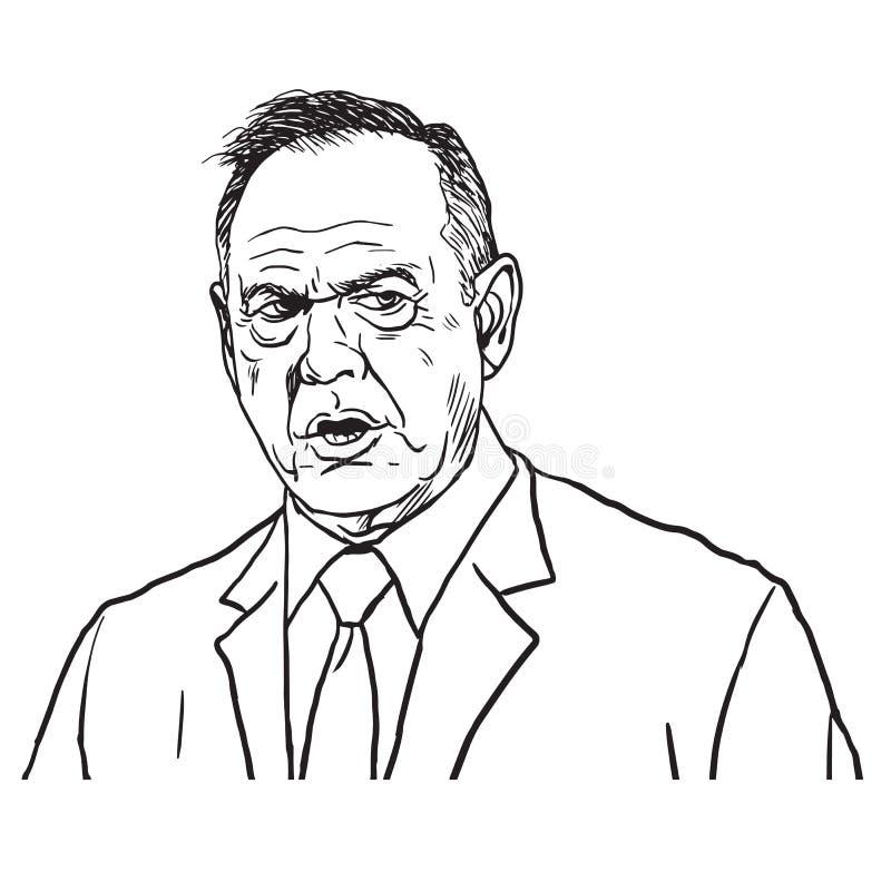 Roy Moore Portrait Drawing ilustração desenhado à mão do vetor 12 de dezembro de 2017 ilustração do vetor