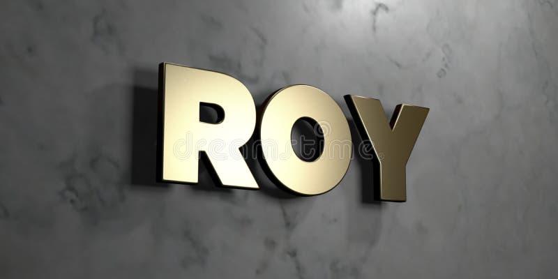 Roy - sinal do ouro montado na parede de mármore lustrosa - 3D rendeu a ilustração conservada em estoque livre dos direitos ilustração royalty free