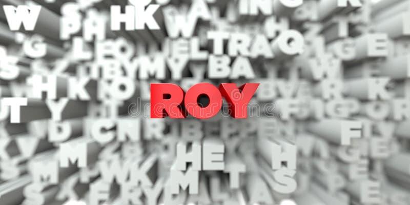 ROY - Texto vermelho no fundo da tipografia - 3D rendeu a imagem conservada em estoque livre dos direitos ilustração stock