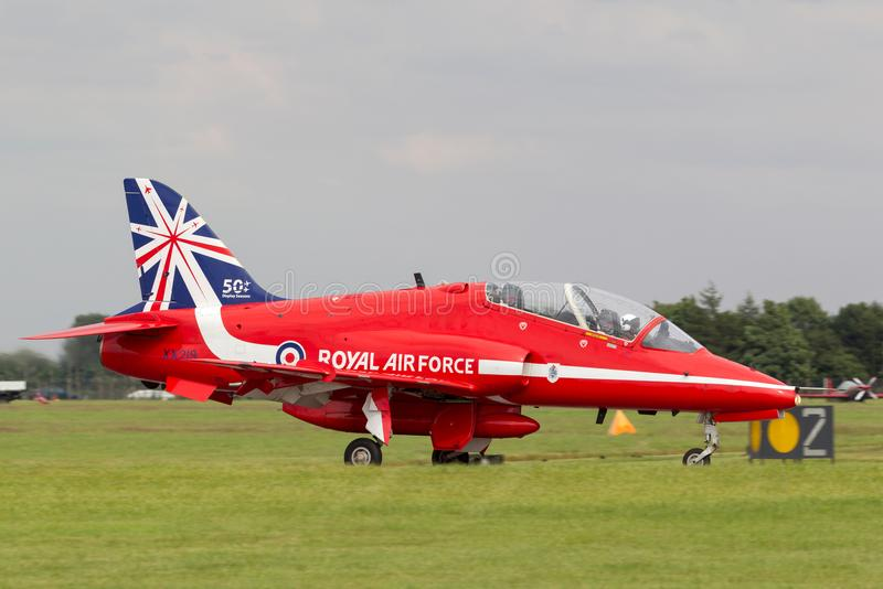 Royal Air Force RAF Hawker Siddeley Hawk T.1A XX219 of the Royal Air Force Aerobatic display team the Red Arrows. stock photo