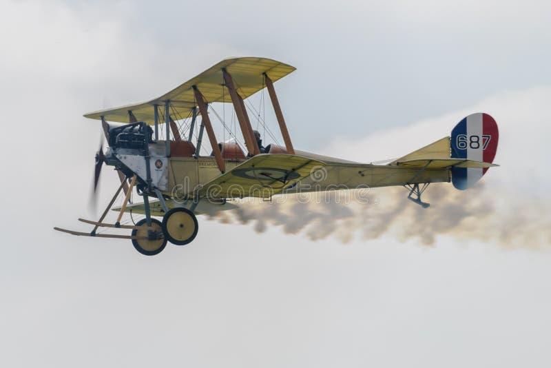 Royal Aircraft Factory B.E.2C Biplane. Performing at RAF Cosford Airshow stock image