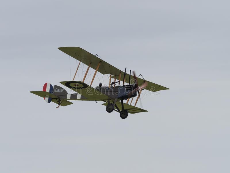 Royal Aircraft Factory BE2 Biplane. Duxford, UK - May 23rd 2015: Vintage British Royal Aircraft Factory BE2 Biplane of First World War, displaying at Duxford VE royalty free stock photos
