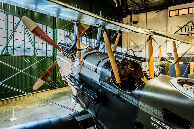 The Royal Aircraft Factory R.E.8. At Royal Air Force Museum London. Two Seat Biplane Bomber and Reconnaissance Rear View royalty free stock image
