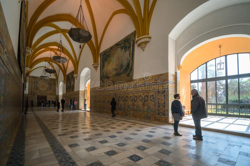 SEVILLE,SPAIN - March 3, 2016: The Hall of Vaults in the Alcazar of Seville, Spain stock images