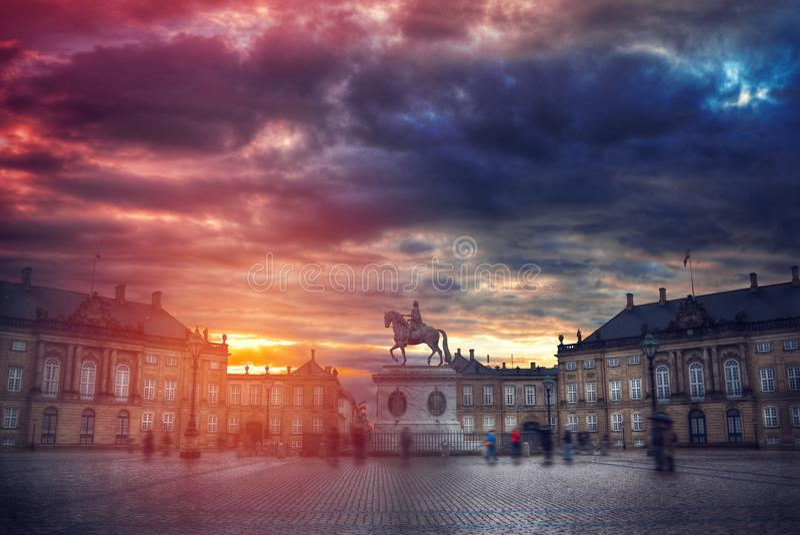 Royal Amalienborg Palace in Copenhagen stock images