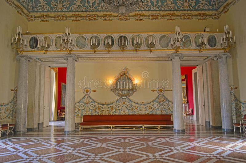 Royal Apartments at museo di capodimonte. Itr is an art museum located in the Palace of Capodimonte, a grand Bourbon palazzo in Naples, Italy. The museum is stock images
