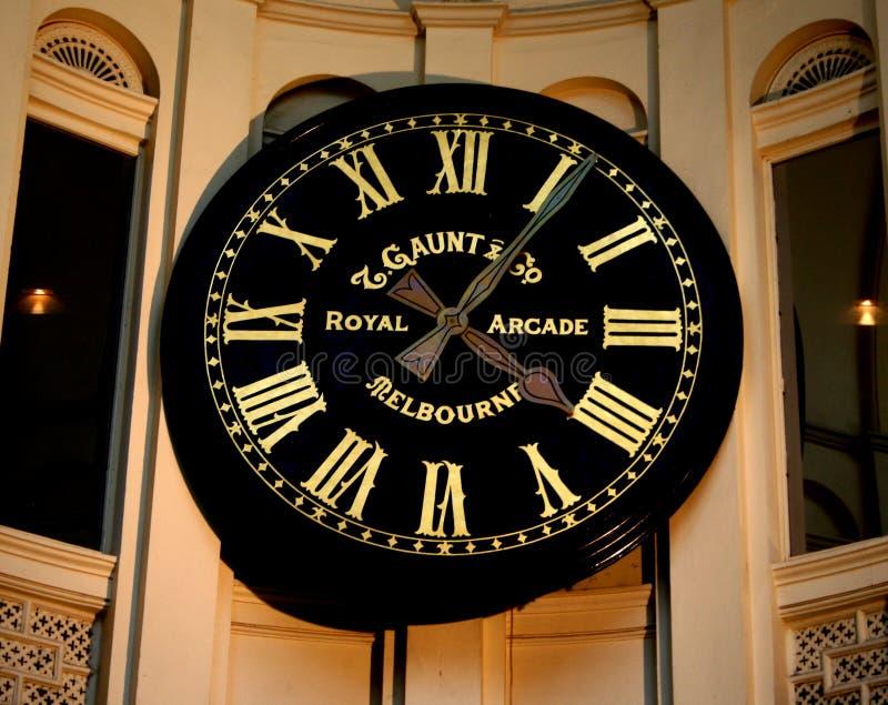 Royal Arcade Clock, Melbourne, Australia royalty free stock images