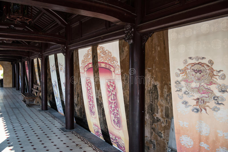 Royal Art in Citadel. Inside the Imperial Citadel in Hue, which was the house for the Nguyen dynasty until Vietnam's Independence in 1945. A part of the citadel stock photography