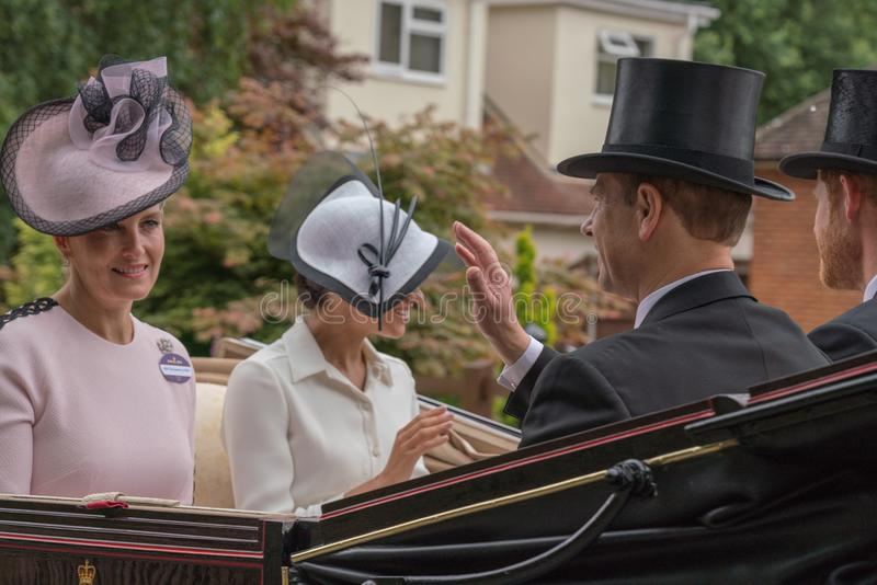 Countess Sophie of Wessex, Earl Edward of Wessex, Duke Harry of. Royal Ascot Carriage Procession Meghan royalty free stock image