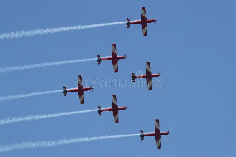 The Royal Australian Air Force`s Roulettes aerobatic display for 2019 Australia Day in Melbourne stock photography