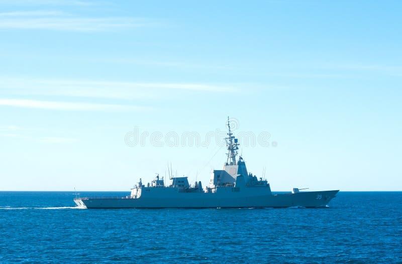 Royal Australian Navy warship at sea. South Australia, Australia - February 21, 2017: A Royal Australian Navy warship passes through Backstairs Passage towards stock photo
