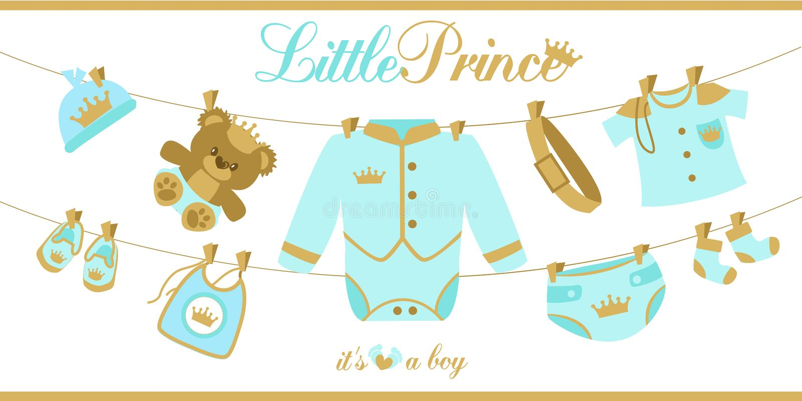 Royal baby boy shower card. Baby clothes hanging on a rope. Baby`s clothes. Prince little party template invitation . Blue and gold color. n vector illustration
