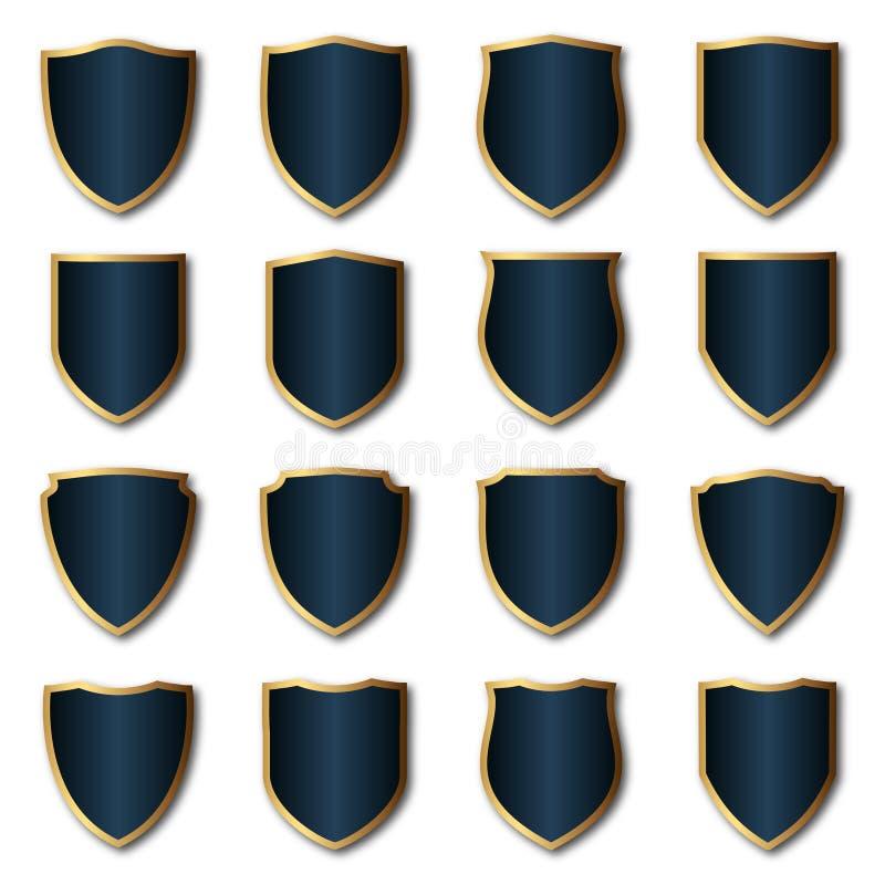 Royal badge and shield set vector stock photo