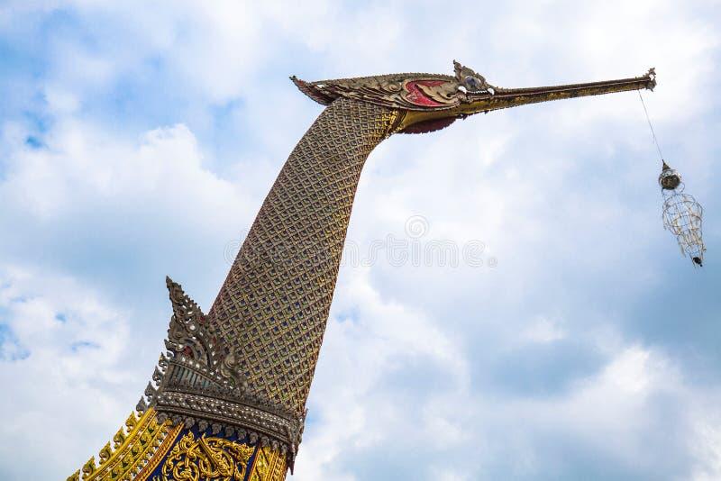 Royal Barges Suphannahong, reproduced at Wat Chalor royalty free stock photos