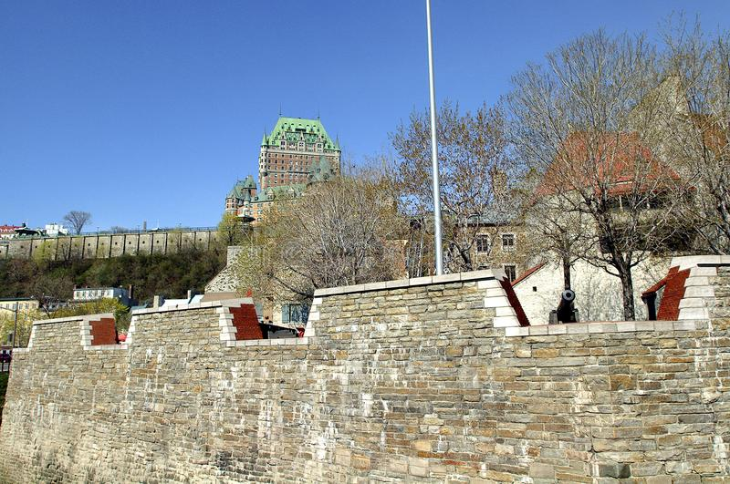 The Royal Battery is a battery erected in 1691 on the north shore of the St. Lawrence River near Place Royale. In Quebec City royalty free stock photo