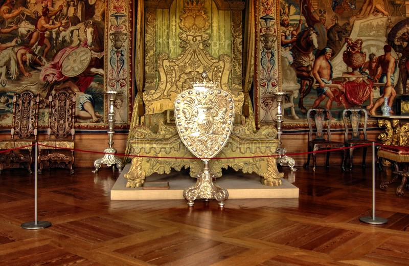 Royal bed in Rosenberg Castle stock images