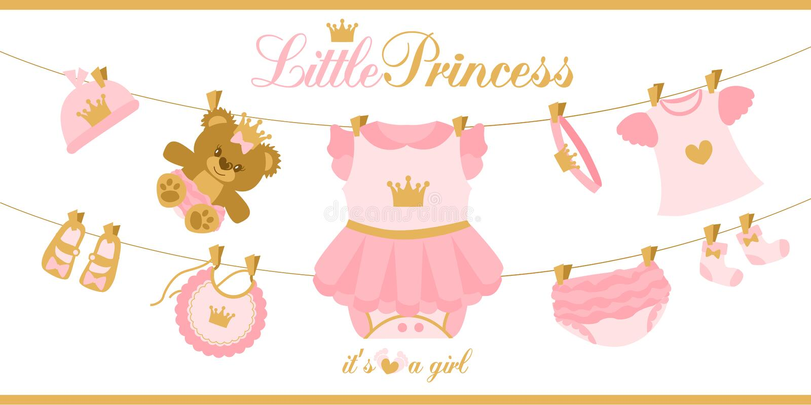 Little princess clothes hanging on line. Illustration for baby shower invitation card. Royal birthday first party. Cute things isolated on white background stock illustration