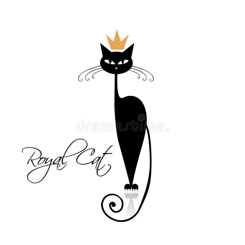 Royal black cat design. Vector illustration royalty free illustration