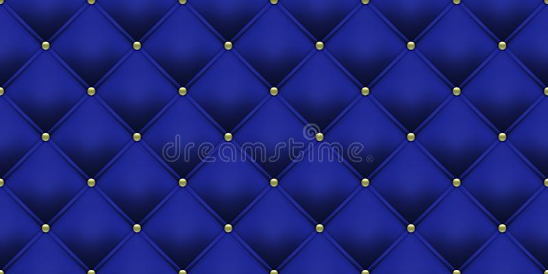 Royal blue background gold buttons pattern. Vector leather or velvet vintage luxury upholstery with golden buttons seamless stock illustration