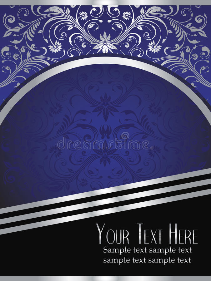 Royal Blue Background with Ornate Silver Leaf royalty free illustration