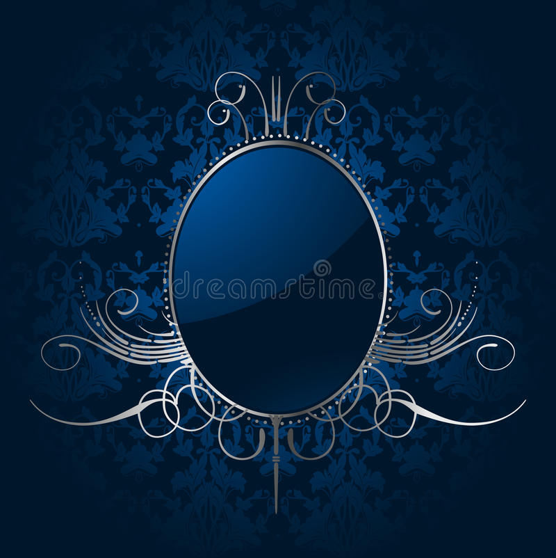 Royal blue background with silver frame. Vector royalty free illustration