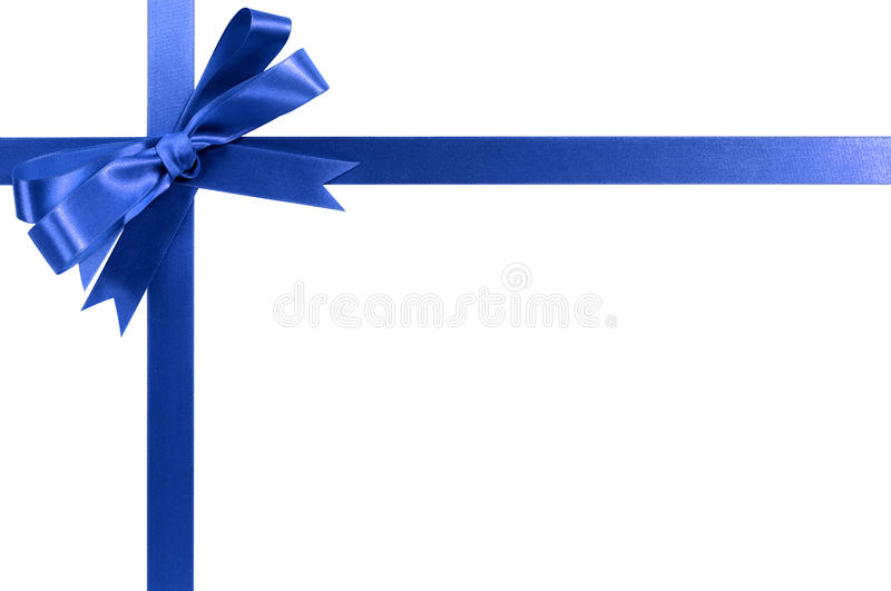 Royal blue gift ribbon bow horizontal corner border isolated on white royalty free stock images