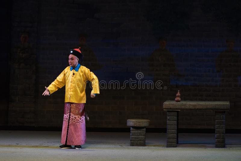"Royal bodyguard-Shanxi Operatic""Fu Shan to Beijing"". Fu Shan Beijing reflects the Fu Shan in Beijing, to be a true story of the words learned macro royalty free stock photo"