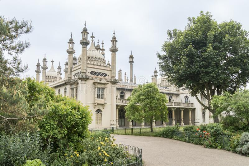 Royal Brighton Pavilion, UK. The Royal Pavilion and gardens in Brighton, East Sussex, UK royalty free stock images