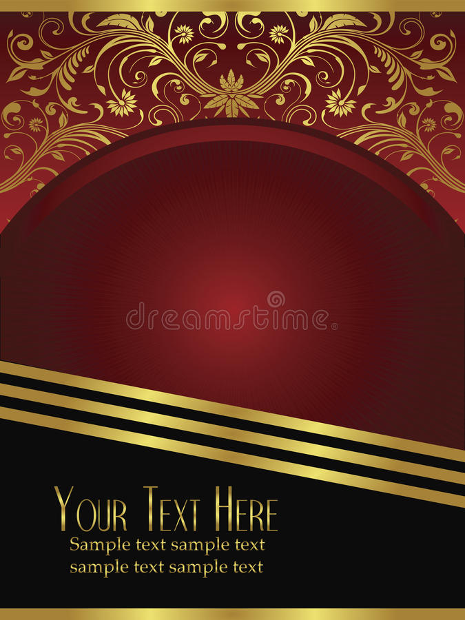 Free Royal Burgundy Background With Ornate Gold Leaf Royalty Free Stock Photo - 12283995