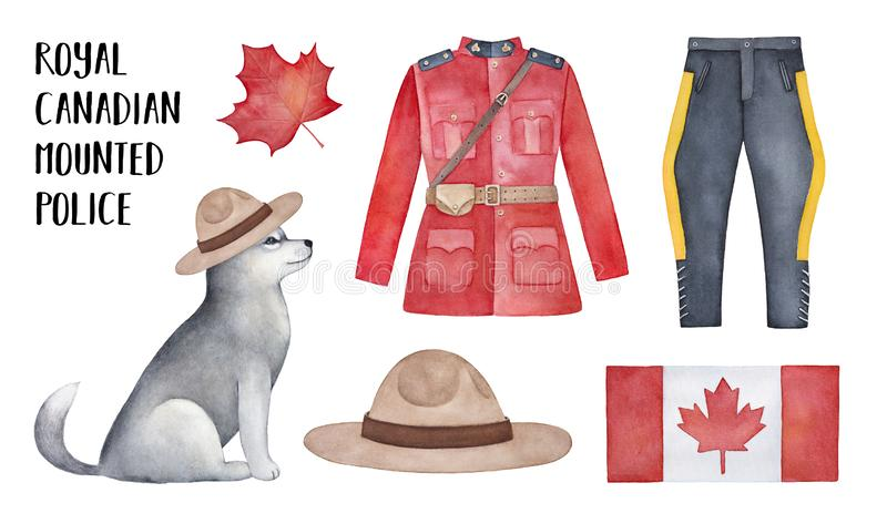 Royal Canadian Mounted Police RCMP smokingowego munduru ilustracji kolekcja ilustracji