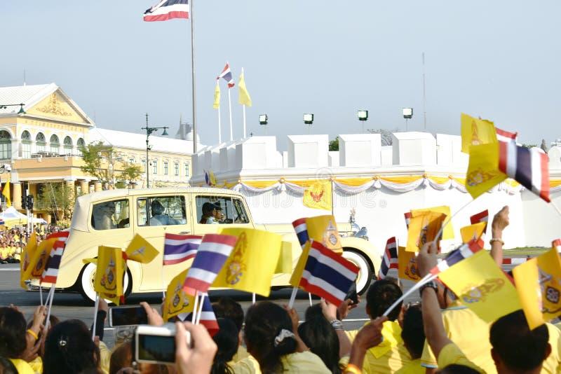 royal car of His majesty king Maha Vajiralongkorn Bodindradebayavarangkun pass through people waiti royalty free stock images