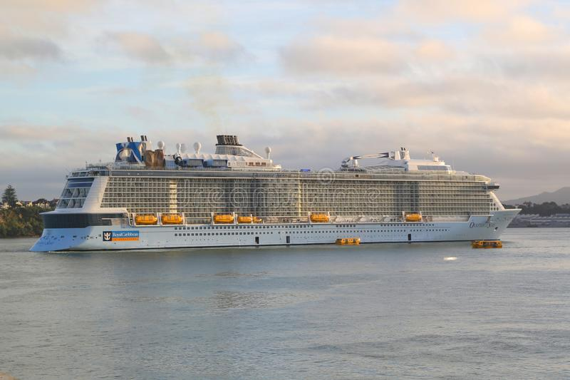 Royal Caribbean Cruise Ship Ovation of the Seas in Auckland Harbor. AUCKLAND, NEW ZEALAND - JANUARY 29, 2019: Royal Caribbean Cruise Ship Ovation of the Seas in royalty free stock images