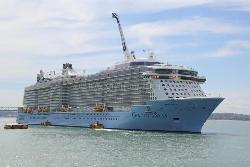 Royal Caribbean Cruise Ship Ovation of the Seas in Auckland Harbor. AUCKLAND, NEW ZEALAND - JANUARY 29, 2019: Royal Caribbean Cruise Ship Ovation of the Seas in stock images