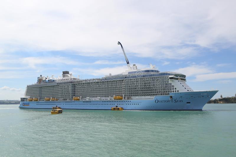Royal Caribbean Cruise Ship Ovation of the Seas in Auckland Harbor. AUCKLAND, NEW ZEALAND - JANUARY 29, 2019: Royal Caribbean Cruise Ship Ovation of the Seas in stock photo