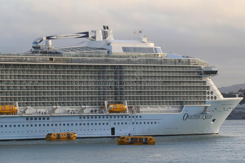 Royal Caribbean Cruise Ship Ovation of the Seas in Auckland Harbor. AUCKLAND, NEW ZEALAND - JANUARY 29, 2019: Royal Caribbean Cruise Ship Ovation of the Seas in royalty free stock image