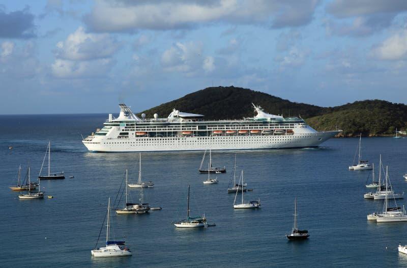 Royal Caribbeans Grandeur of the Seas. In St Thomas U.S. Virgin Islands royalty free stock photo