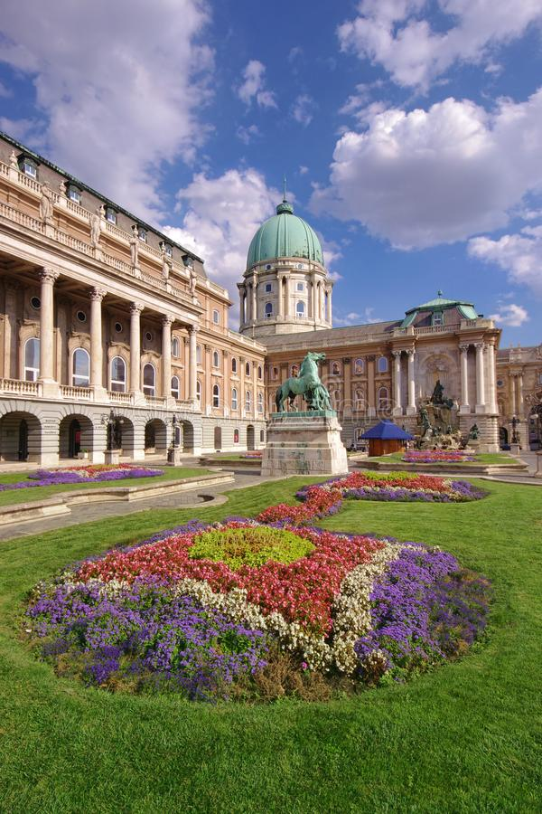 Royal Castle in Budapest, view of garden. With flowers stock photos