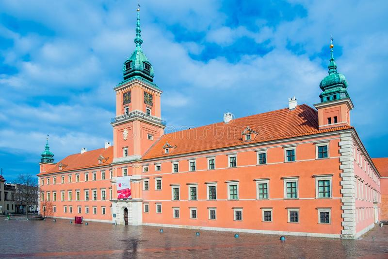 Royal Castle and the Castle Square in Old Town of Warsaw, Poland. Beautiful Royal Castle and the Castle Square in Old Town of Warsaw, Poland royalty free stock photo