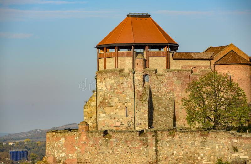 Royal castle of Esztergom, Hungary at sunny autumn day. Esztergom is popular destination for tourists staying in Budapest roof tower wall architecture build stock image