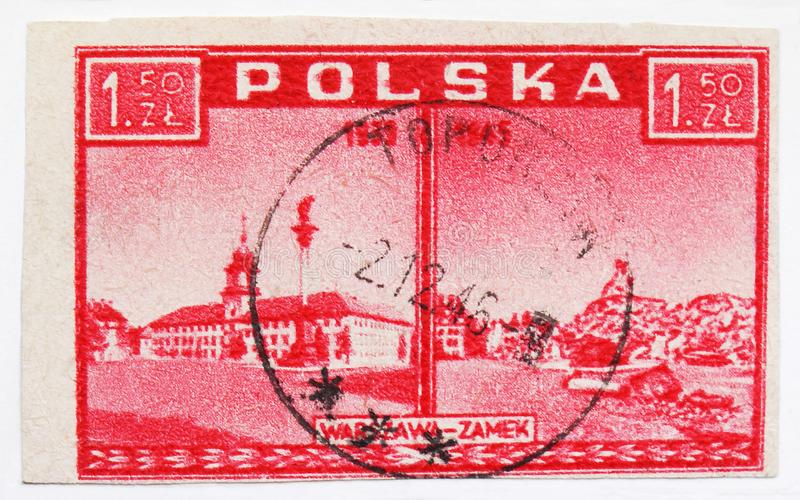 Royal Castle in Warsaw, Warsaw accuses, views before and after the destruction serie, circa 1945. MOSCOW, RUSSIA - JULY 15, 2019: Postage stamp printed in Poland royalty free stock images