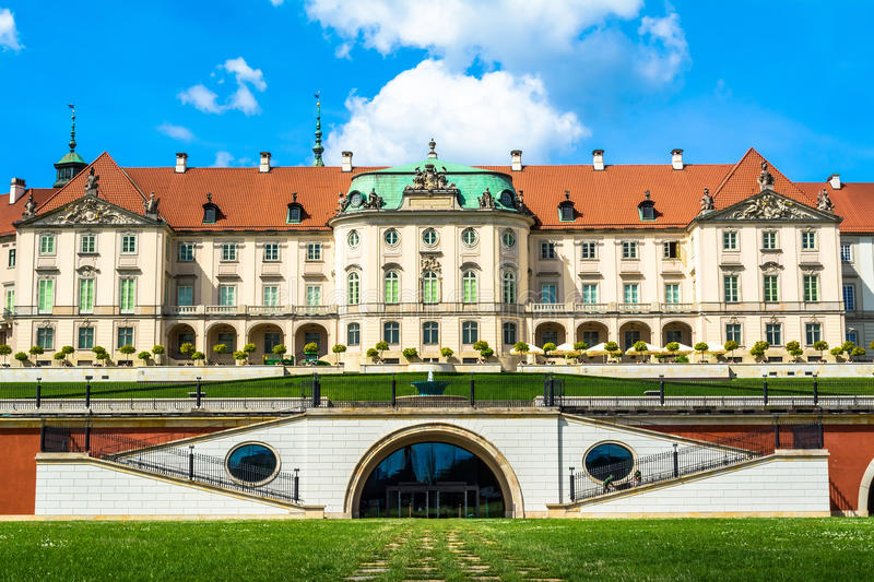 The royal castle in Warsaw. View from the back side. Sunny summer day with a blue sky. Horizontal photo stock photography