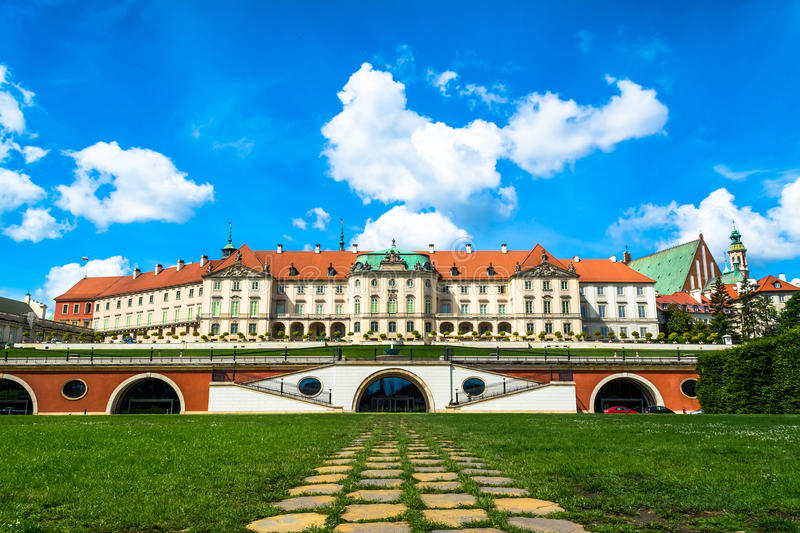 The royal castle in Warsaw. View from the back side. Sunny summer day with a blue sky. Horizontal photo stock images