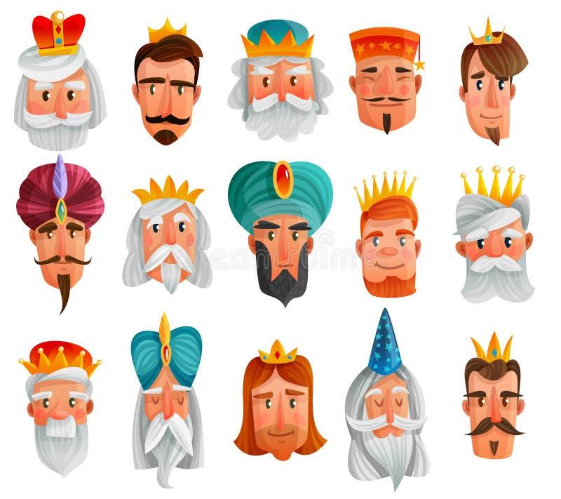 Royal Characters Cartoon Set stock illustration