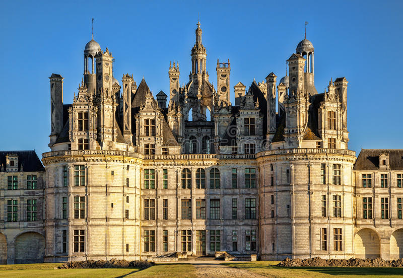 The royal Chateau de Chambord at sunset, France. stock images